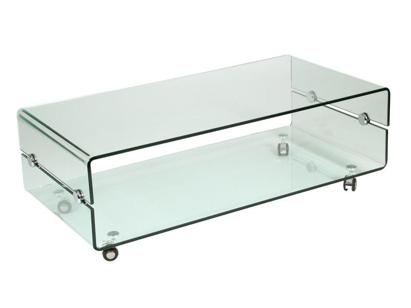 Mesa de centro de vidrio transparente con ruedas for Mesas de vidrio de diseno