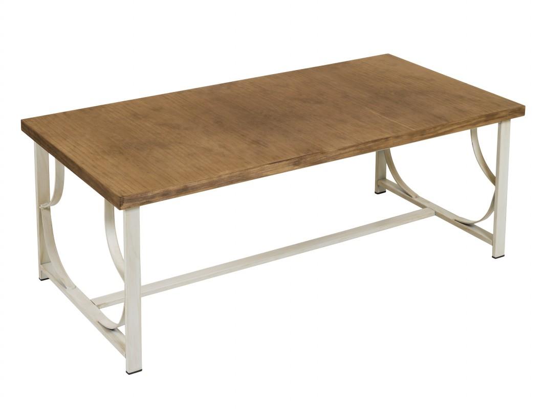 Mesa de centro vintage de forja y laminado de pino envejecida - Mesa centro madera ...