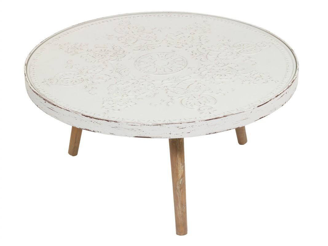 Mesa de centro redonda vintage blanca de madera de abeto - Mesa centro redonda ...