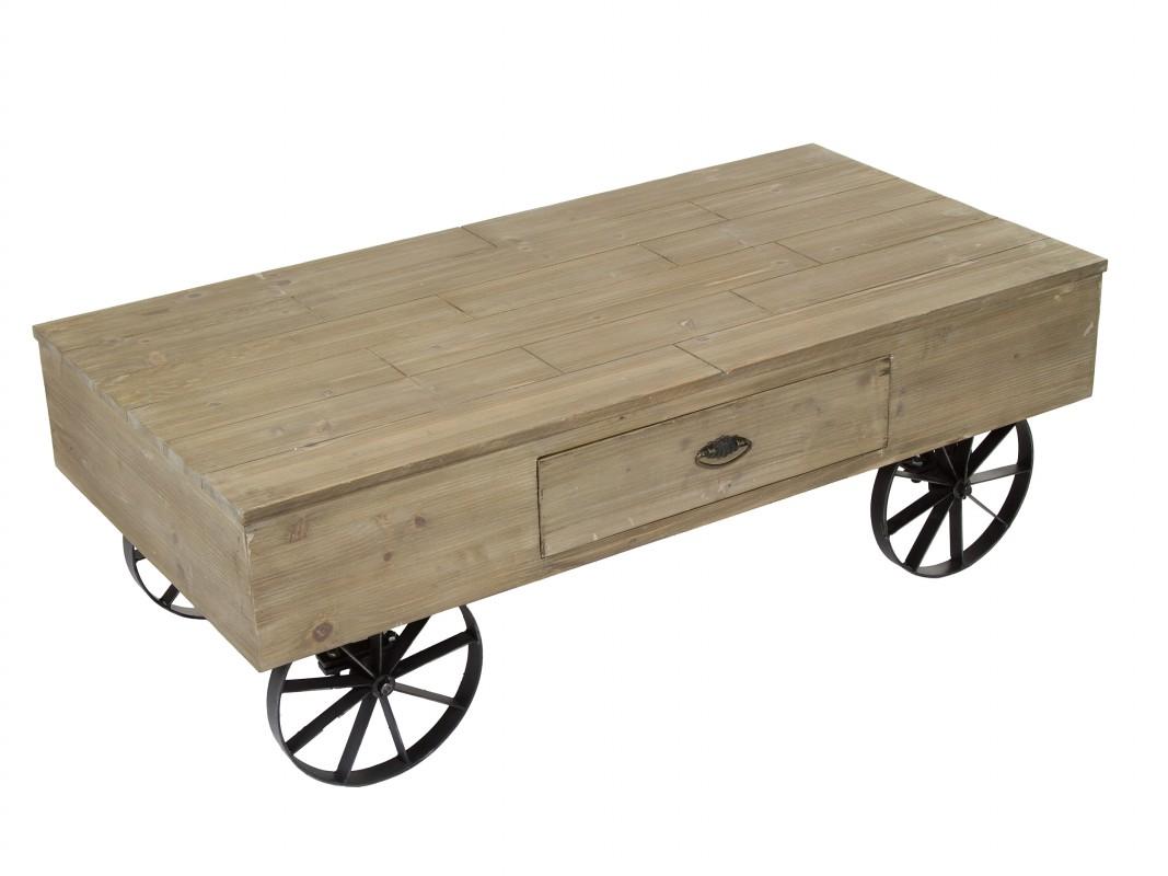 Mesa de centro vintage con ruedas madera envejecida y hierro Mesas industriales vintage