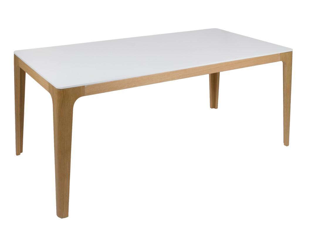 Mesa comedor blanca y madera de roble estilo n rdico for Mesas de comedor becara