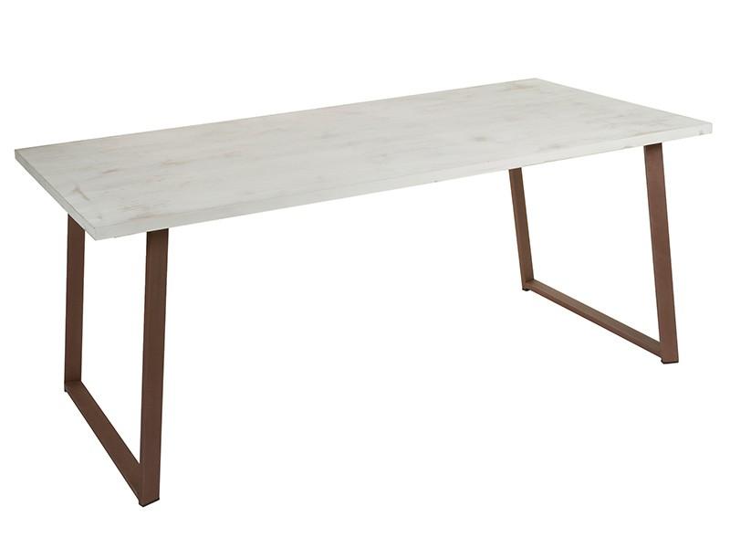 Mesa comedor industrial blanco tiza con patas de hierro for Patas de hierro para mesas