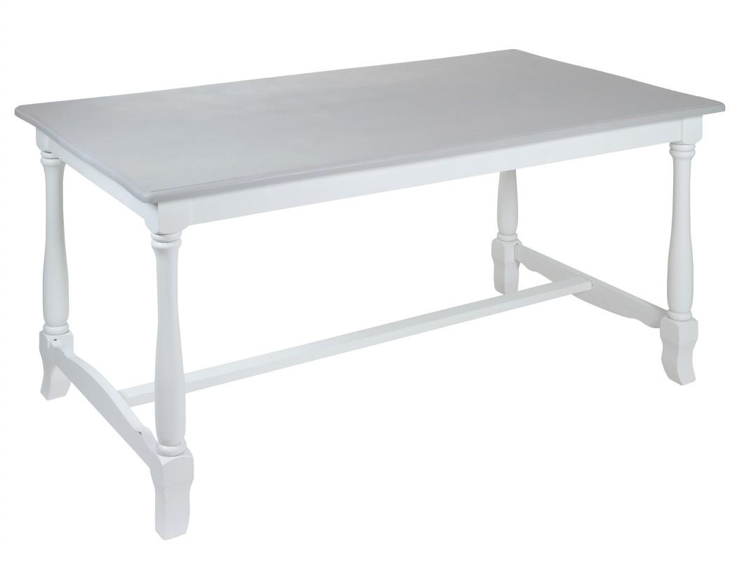 Mesa comedor clásica blanca envejecida y gris - Mesa comedor vintage