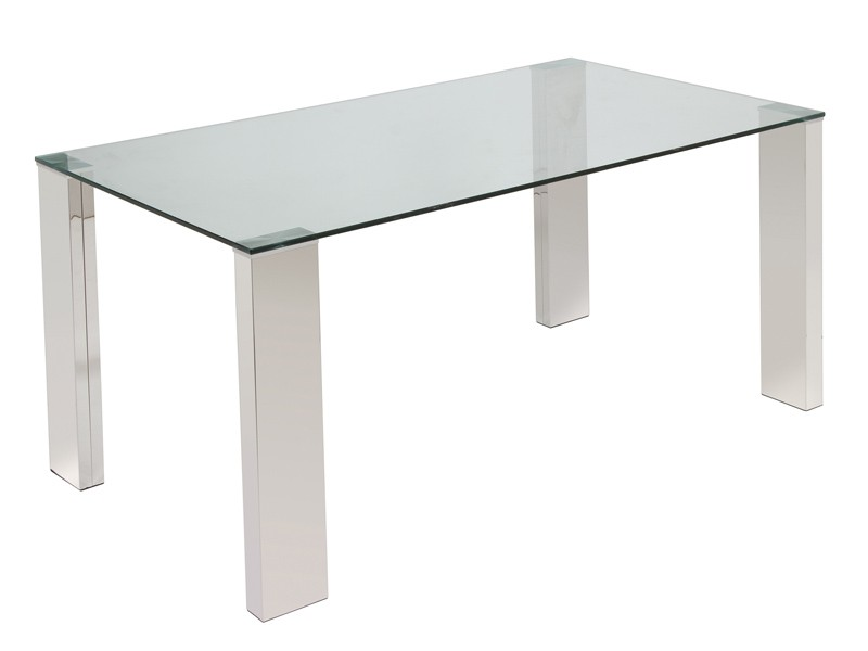 Mesa comedor moderna cristal y acero cromado venta online - Mesas acero y cristal ...