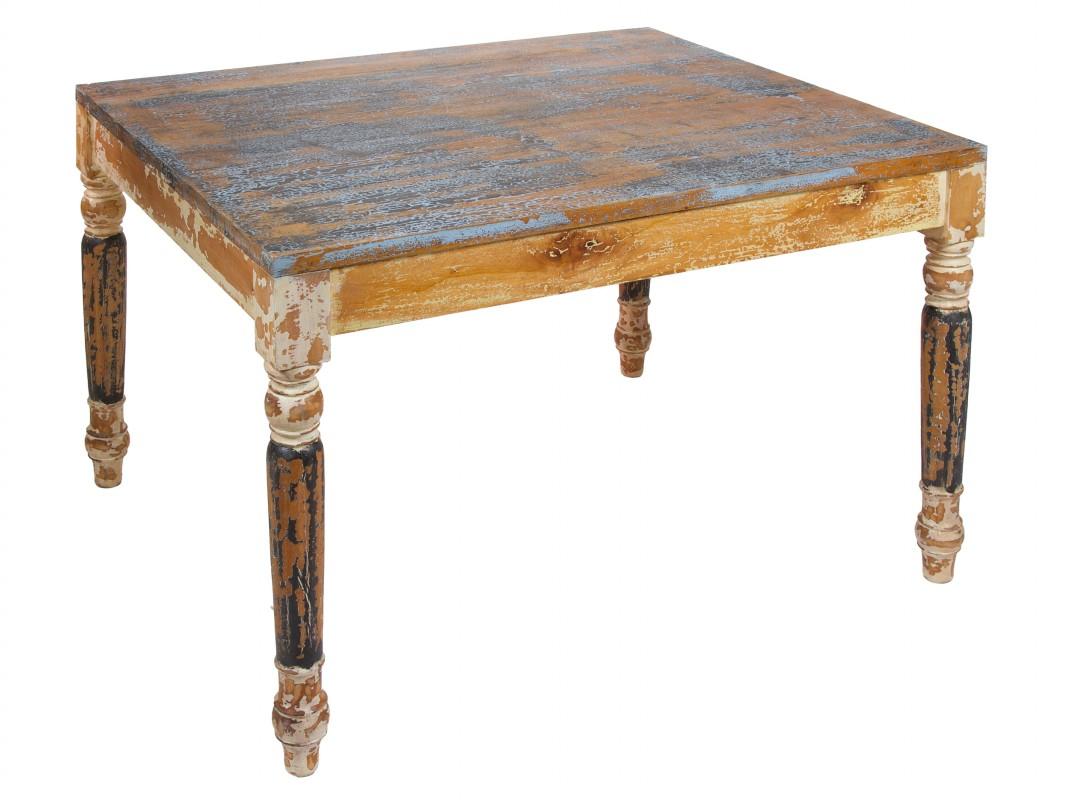 Mesa de comedor de colores vintage de madera envejecida - Mesa comedor antigua ...