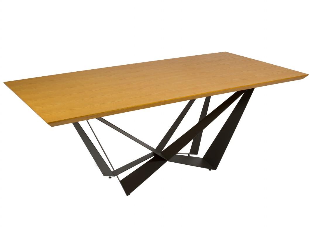 Mesa de comedor de diseño contemporáneo 2 metros hierro y roble