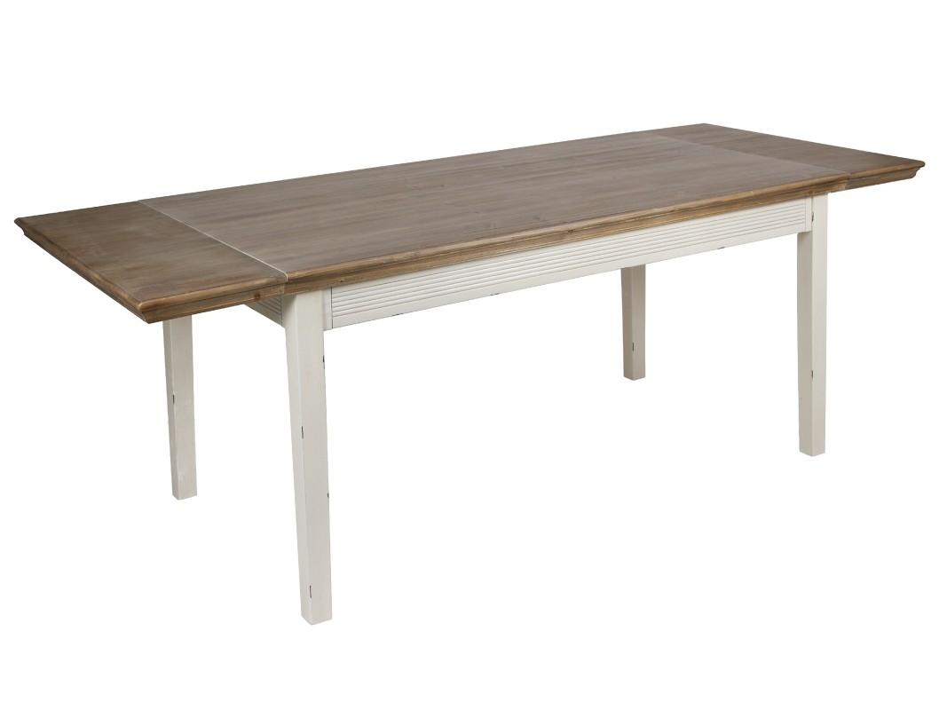 Mesa de comedor extensible vintage de madera decapada - Mesas de madera extensibles comedor ...