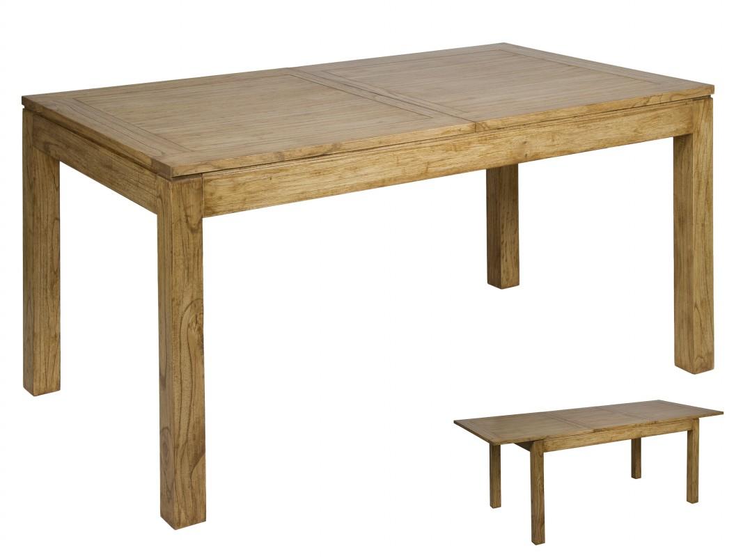 Mesa comedor extensible de madera envejecida estilo r stico for Mesa comedor redonda extensible madera