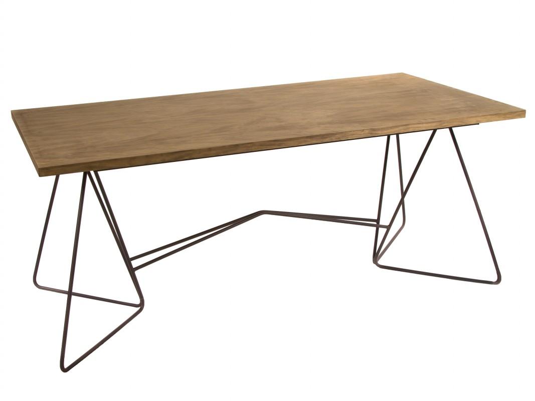 Mesa comedor hierro y madera estilo industrial