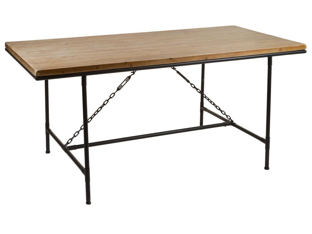 mesa comedor estilo industrial de hierro y madera curve