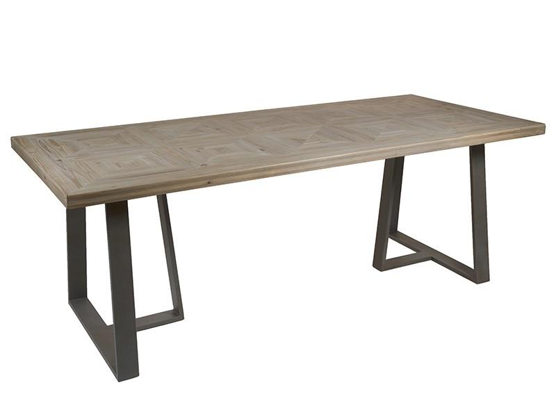 Mesa de comedor industrial grande de madera de abeto y hierro