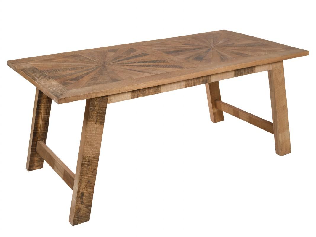 Mesa comedor madera maciza industrial rústica con acabado envejecido