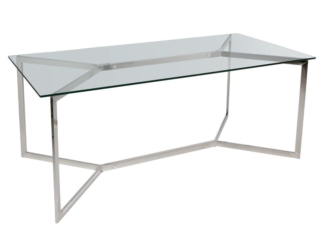 Mesa comedor acero inoxidable y vidrio templado estilo contemporáneo