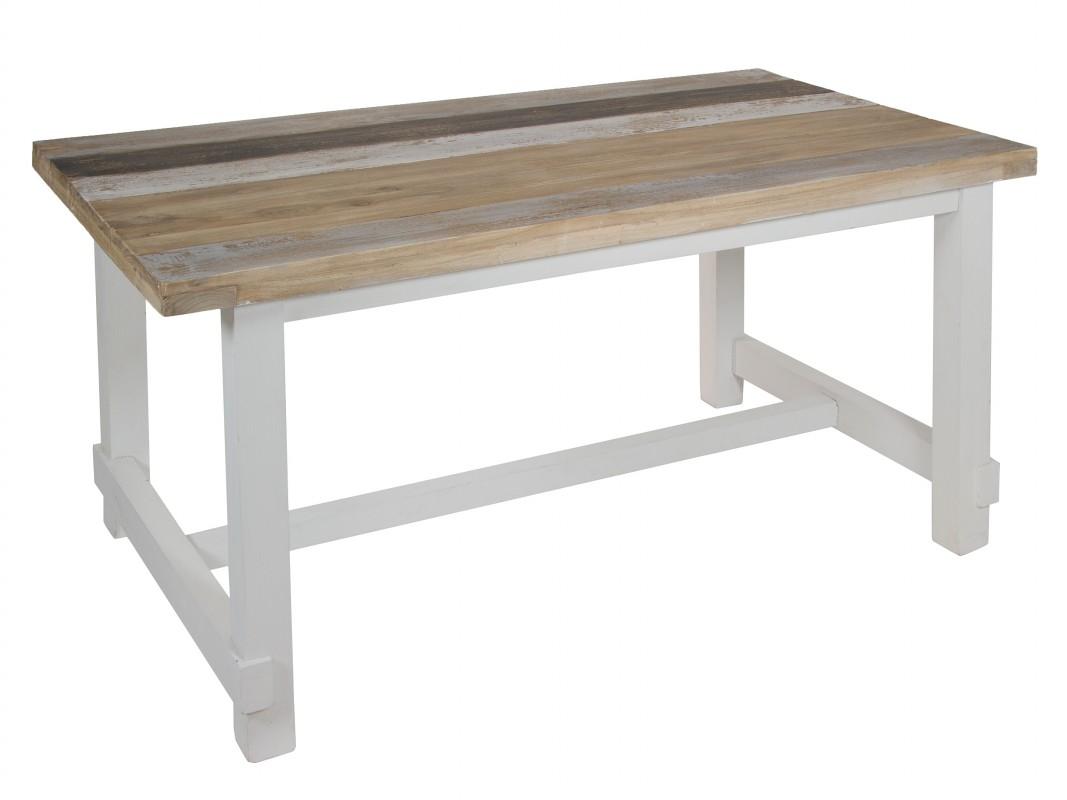 Mesa de comedor vintage con patas blancas y tablero de colores for Mesa comedor ovalada blanca