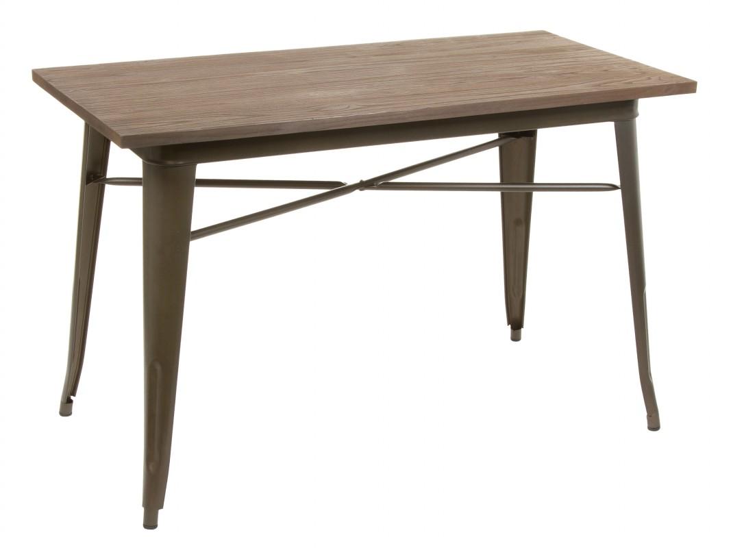 Mesa cocina vintage de hierro y madera color marrón