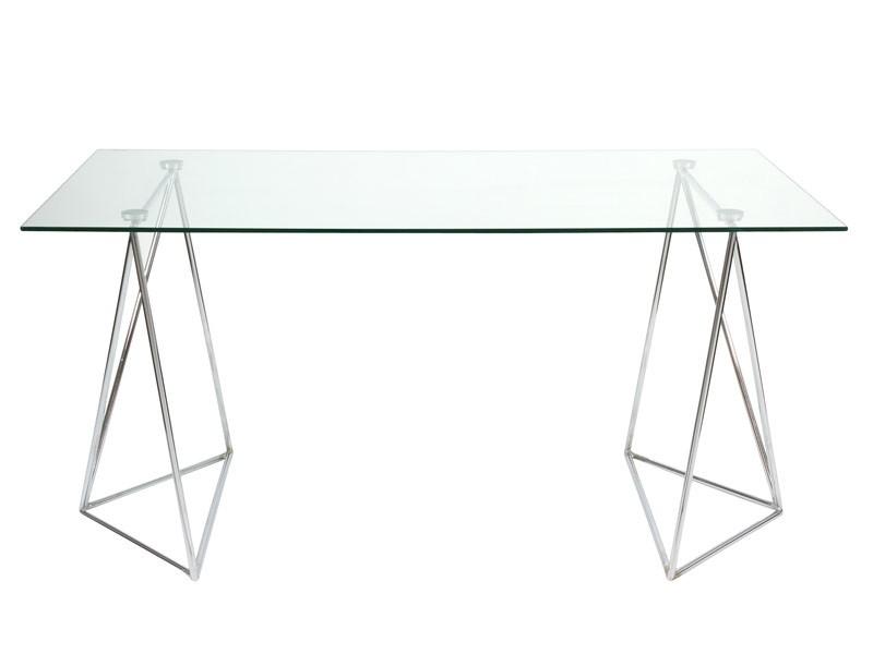 Mesa moderna de cristal y aluminio de 160 cm - Mesas de estudio de cristal ...
