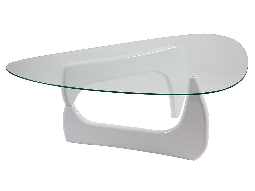 Mesa centro ovalada de cristal con base dm lacado en blanco for Mesas de salon de cristal