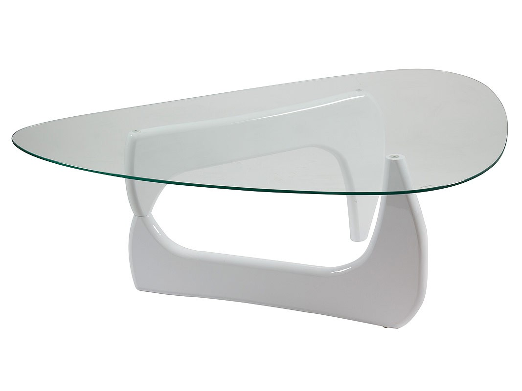 Mesa centro ovalada de cristal con base dm lacado en blanco - Cristal de mesa ...