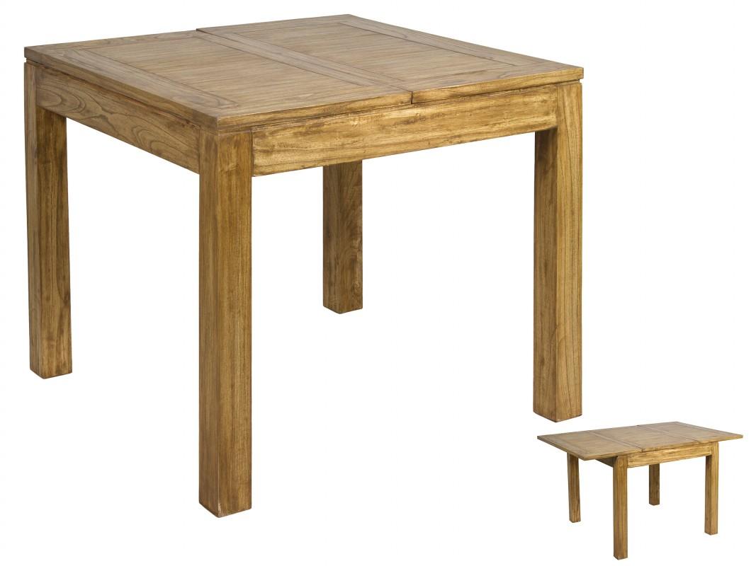 Mesa cuadrada extensible de madera de acacia estilo r stico for Mesa cuadrada