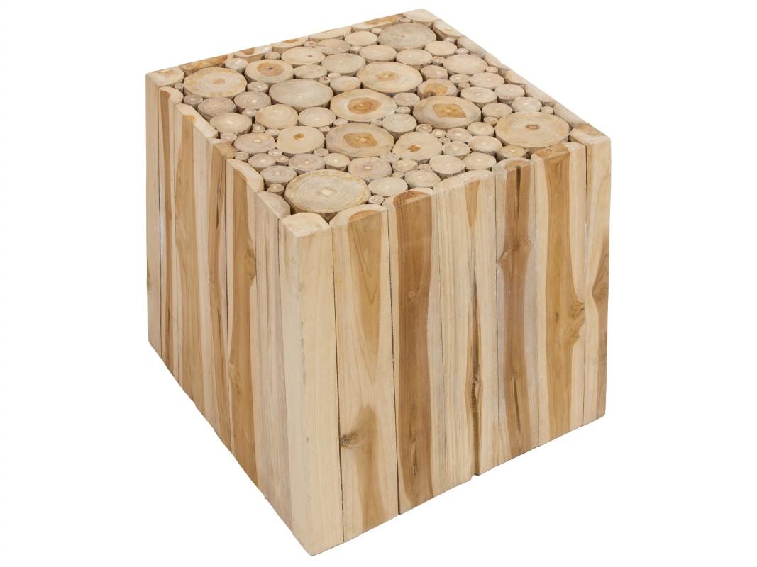 Mesa cubo con troncos de madera de teca estilo escandinavo for Mesas de troncos de madera