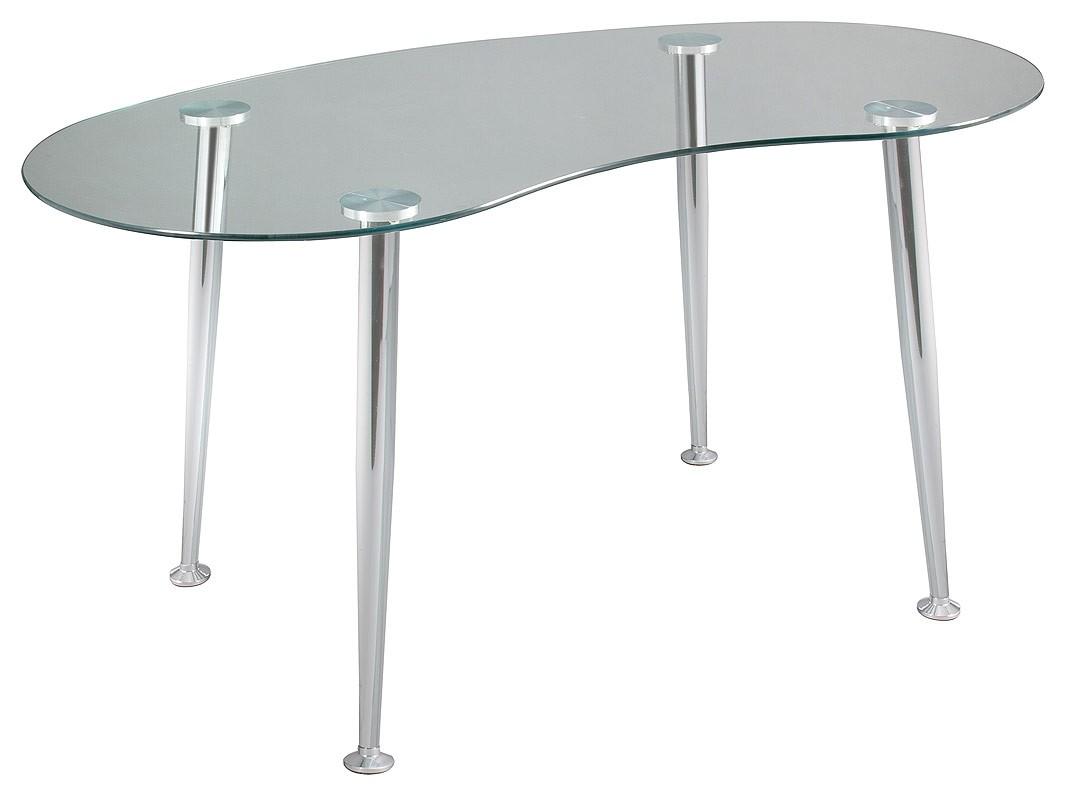 Mesa curvada de cristal escritorio con base de aluminio - Cristal para mesa ...