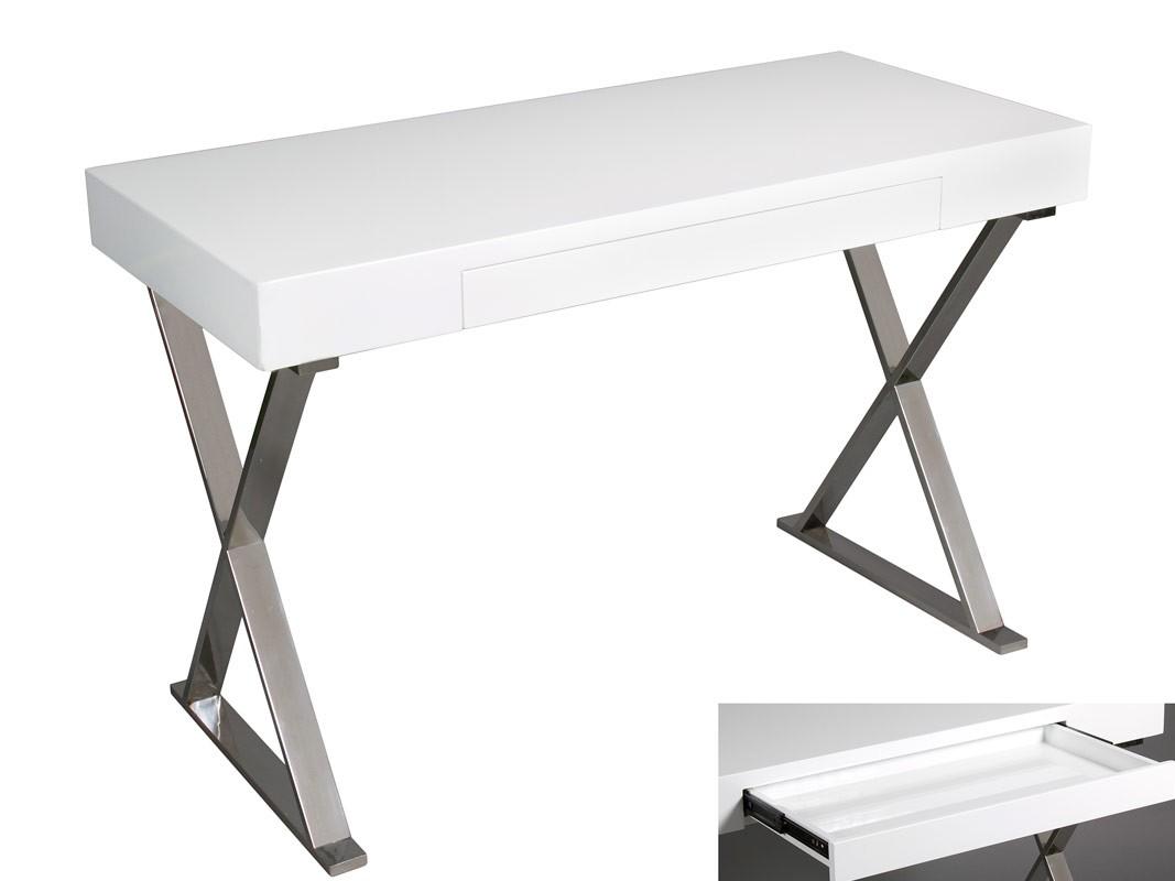 Mesa de estudio blanca estilo moderno con caj n for Mesa escritorio moderna