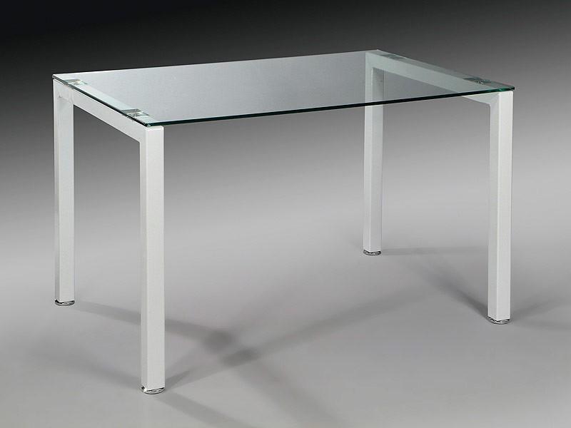 Mesa despacho cristal y metal para oficina y ordenador