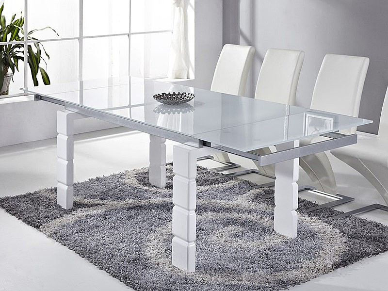Mesa de comedor de dise o extensible en mdf metal y cristal for Mesa diseno