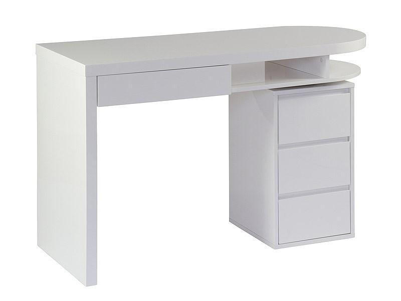 Escritorio oficina con cajones semicircular lacado en blanco for Mesa escritorio con cajones
