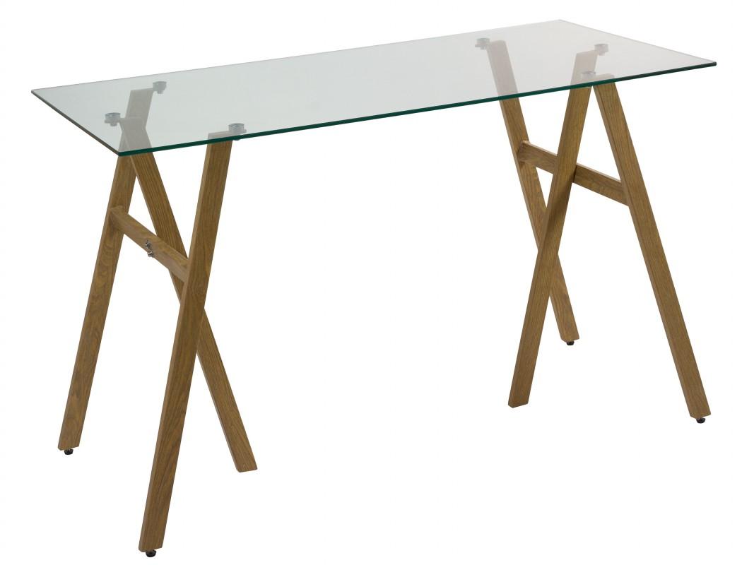 Mesa escritorio cristal con caballetes de hierro imitaci n madera - Mesa con caballetes ...