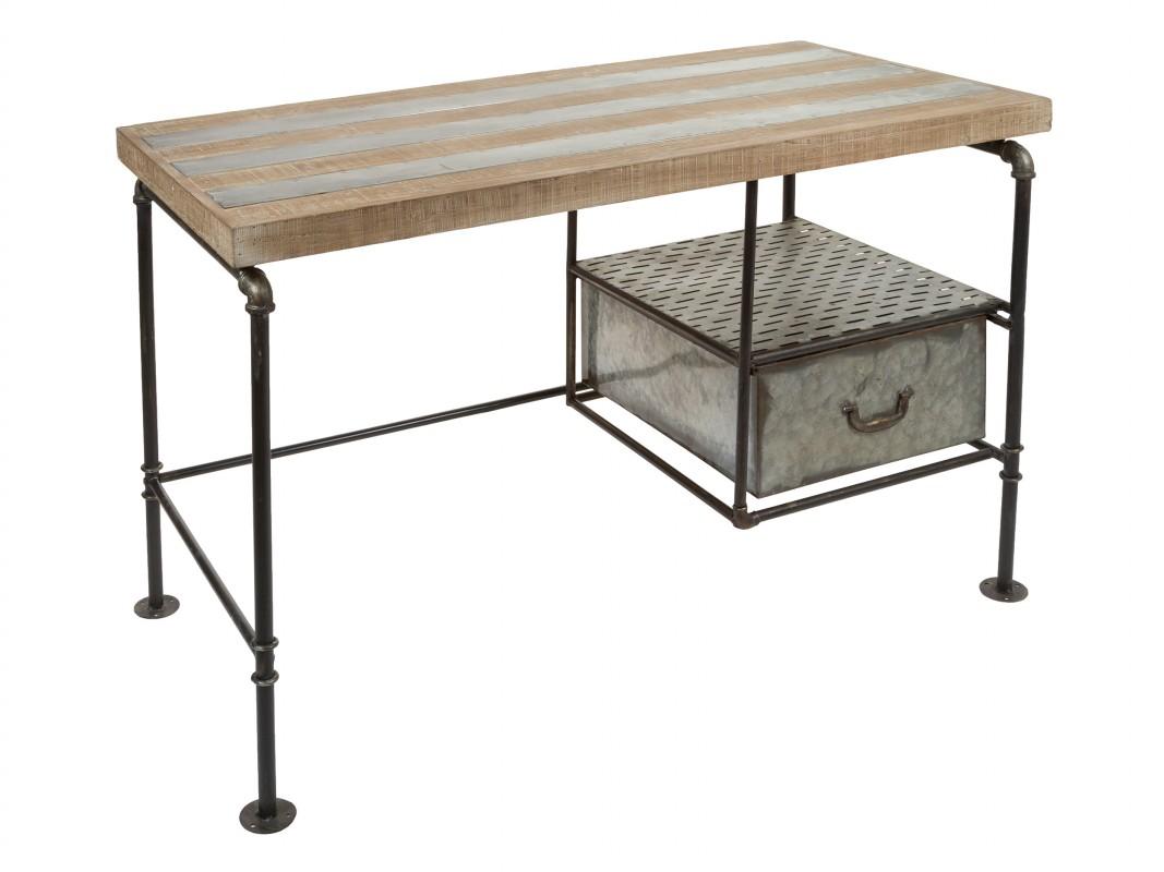 Mesa escritorio industrial hierro y madera pupitre industrial - Mesa madera industrial ...