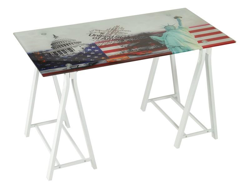 Mesa de escritorio usa con patas blancas de caballete for Comprar escritorio barato