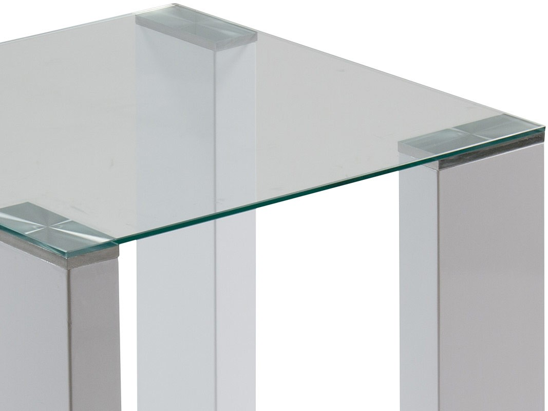 Mesa esquinera de cristal con patas de dm lacado en blanco for Mesa auxiliar esquinera