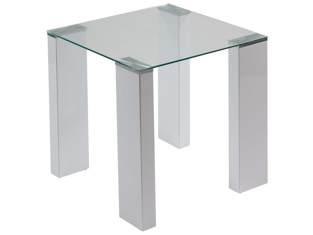 mesa esquinera de cristal con patas de dm lacado en blanco