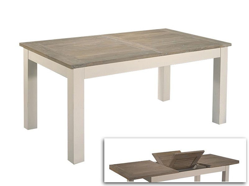 Mesa extensible madera blanco roto cat logo mesas for Mesa de jardin extensible