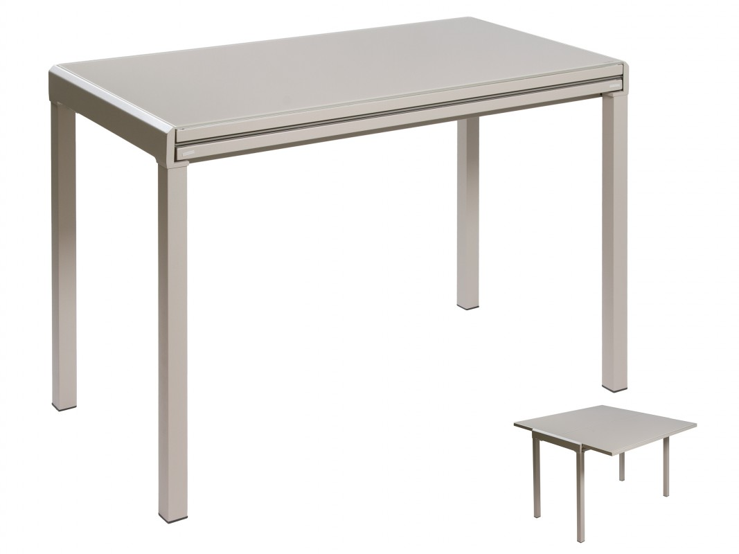 Mesa extensible peque a estilo moderno de color gris for Mesa comedor pequena