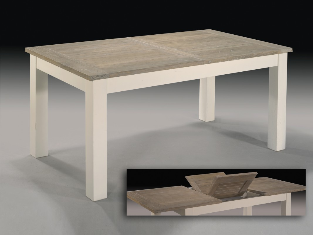 Mesa extensible de madera de teka para interior y exterior for Mesas de exterior baratas