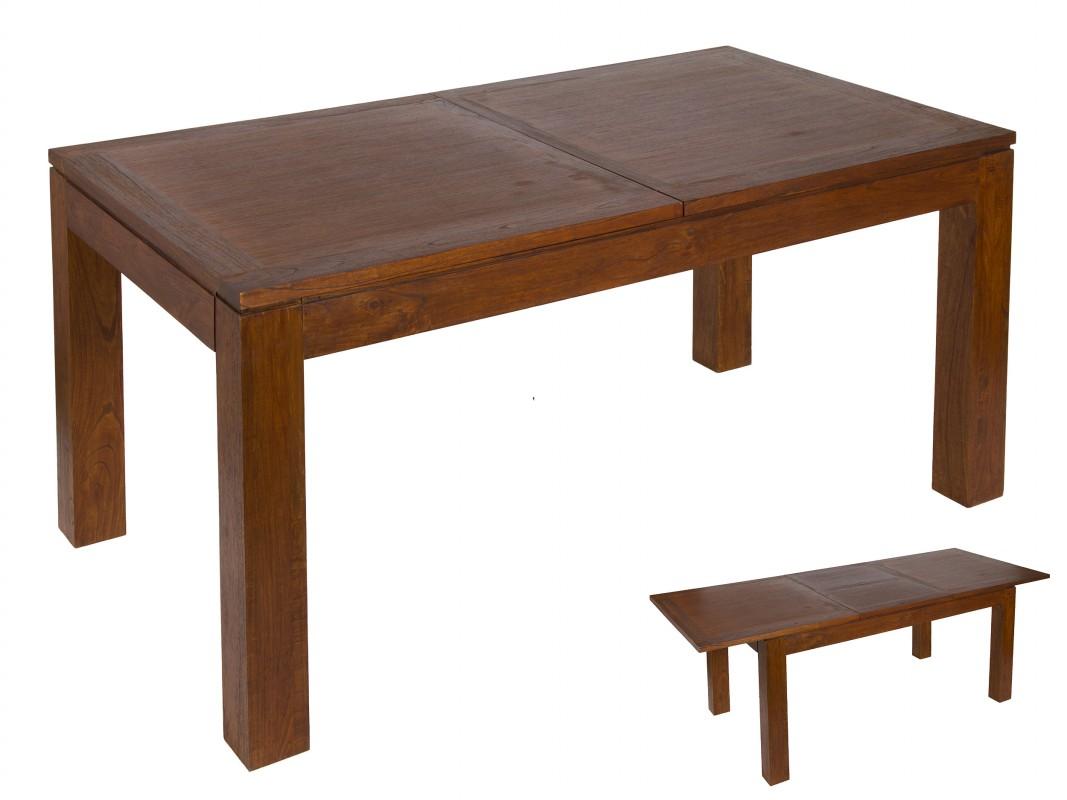 Mesa extensible de madera de mindi estilo colonial o r stico for Mesa madera extensible
