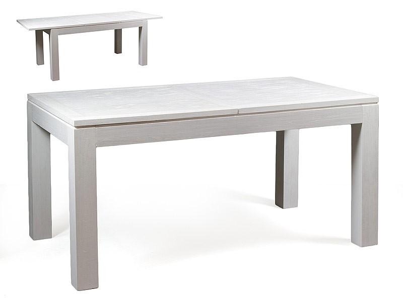 Mesa extensible de madera blanca estilo n rdico for Mesa blanca y madera