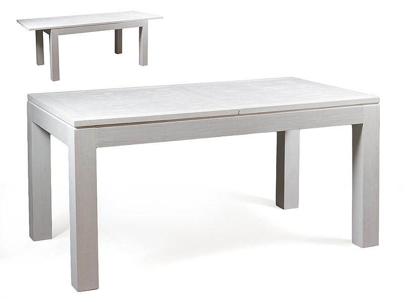 Mesa extensible de madera blanca estilo n rdico for Mesas de comedor madera blanca