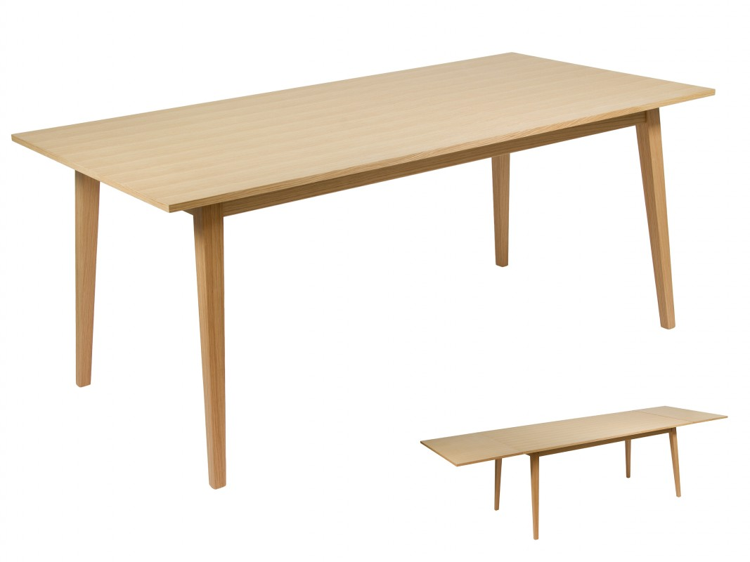 Mesa comedor extensible roble y mdf en color roble natural