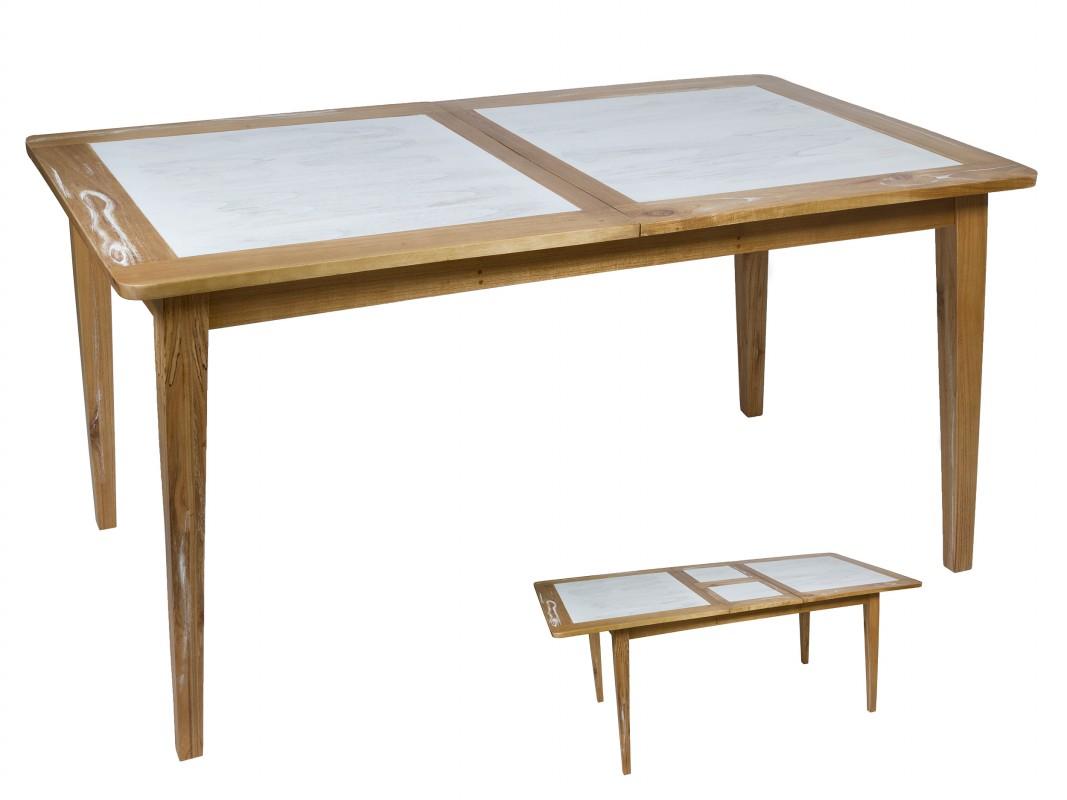 Mesa vintage extensible blanca y roble para comedor 160 cm