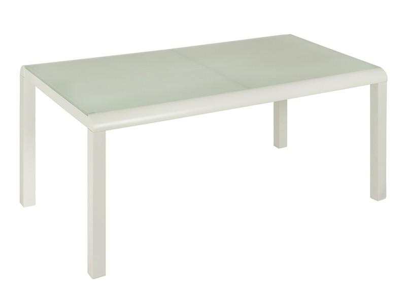 Mesa jard n blanca de aluminio y cristal muebles jard n for Mesas de aluminio para jardin