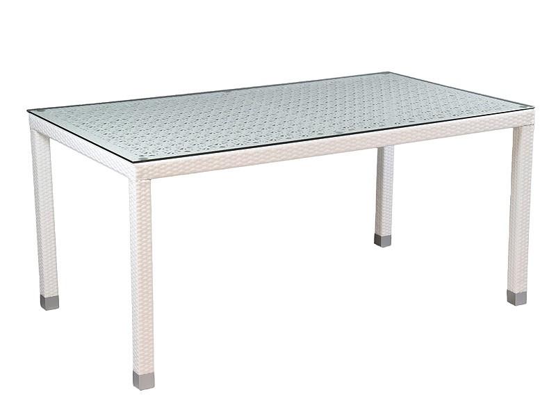 Mesa para el jard n de ratt n color blanco y base de cristal for Mesa jardin cristal amazon