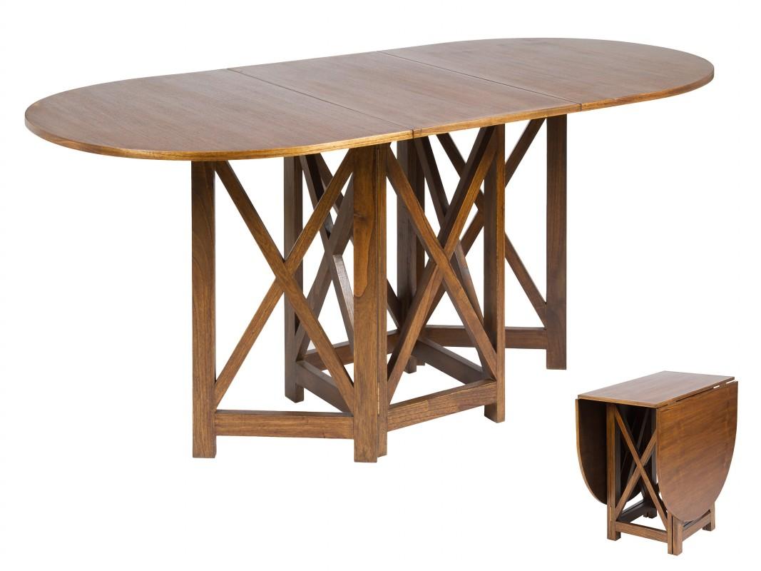 Mesa libro de madera color nogal mesas sal n comedor - Mesa libro comedor ...