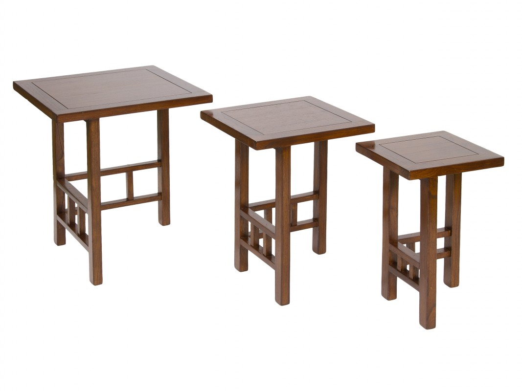 Mesa nido de madera estilo colonial mesas nido online for Mesas estilo colonial