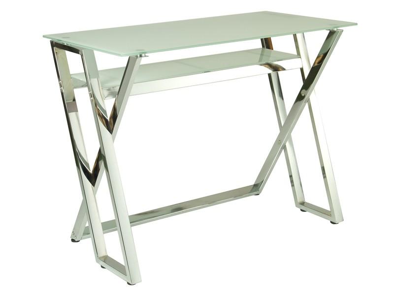 Mesa de ordenador de cristal y metal mesas de escritorio for Mesa escritorio cristal