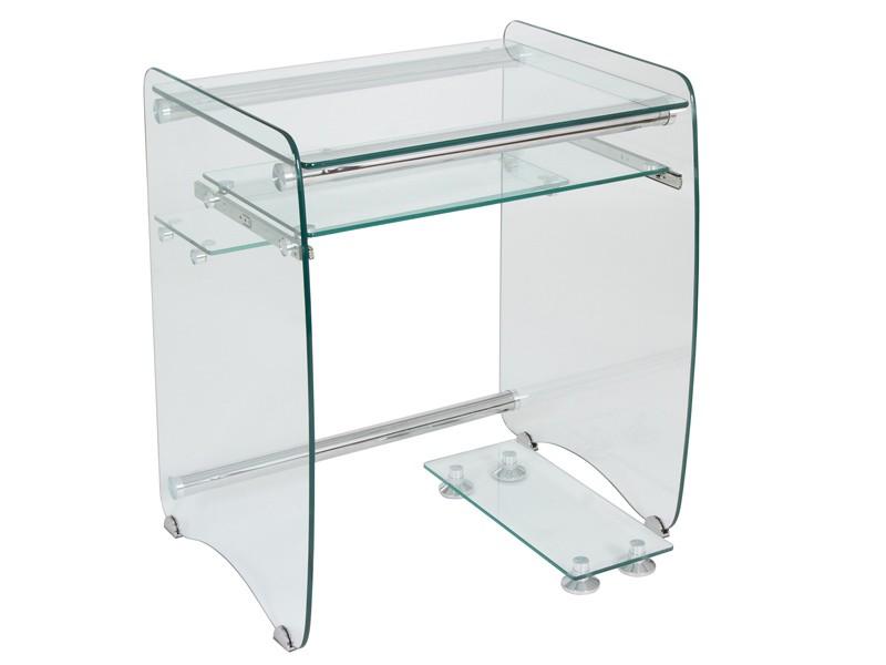Mesa ordenador peque a de cristal transparente escritorios - Como hacer una mesa de ordenador ...