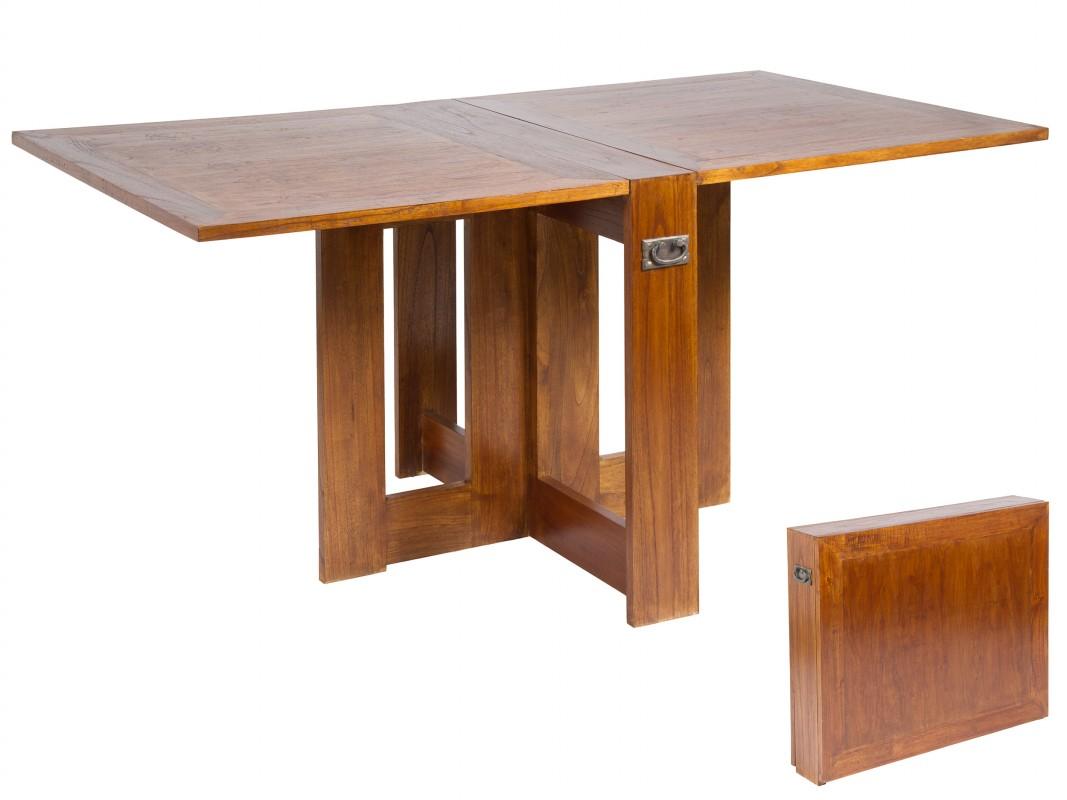 Mesa plegable abatible de madera con asas para sal n comedor for Comprar sillas de salon