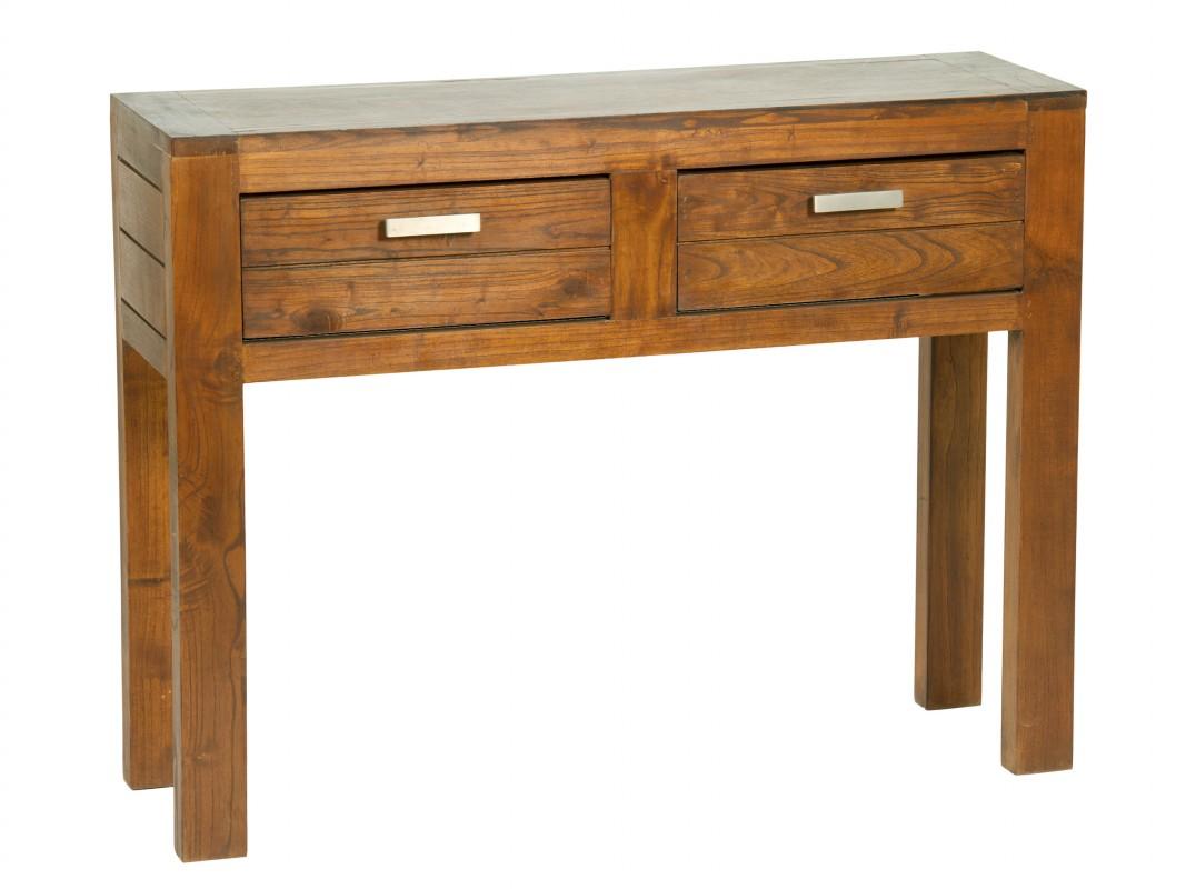 mesa recibidor de madera 2 cajones muebles de entrada